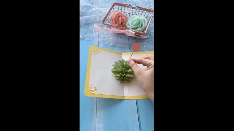 Объемная открытка с букетом своими руками