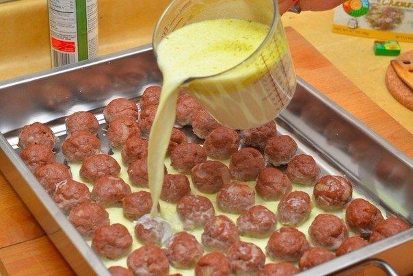 Шарики из говяжьего фарша под сливочным соусом