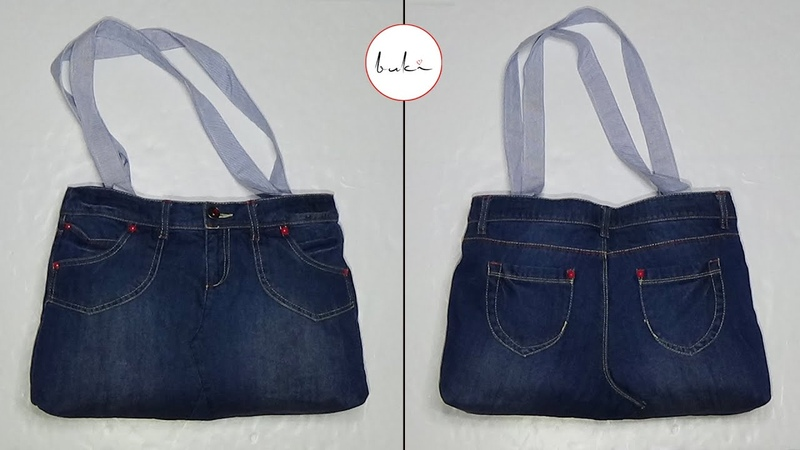 Buki Easy Jeans Bag Making DIY Jeans Tutorial Old Jeans Recycle Idea