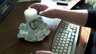 Candle decoration with DIY rub on transfers Украшение свечей самодельными трансферами-натирками