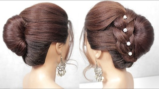 Easy Hairstyles For Long Hair. French Roll Updo With Braid. Bridal Hairstyle