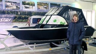 Моторная лодка Бестер-390. Ходовой тент для двухконсольного варианта. Поворотные сиденья.