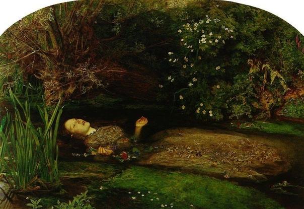 Джон Эверетт Милле, Офелия, 185152 Офелия была возлюбленной принца Гамлета, но узнав, что он убил её отца Полония, помешалась и покончила с собой, утопившись в реке. Как говорят могильщики в